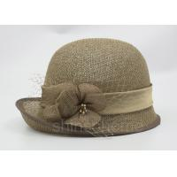 Quality Fashionable Brown Mesh Bucket Beret Hat For Lady , Floriation Logo With Ribbon for sale