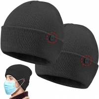 Wholesale Newly design custom button for easy to wear masks knit beanie from china suppliers