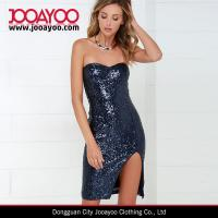Wholesale Women New Dress Design Elegant Sexy Navy Blue Sequin Strapless Dress from china suppliers