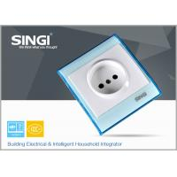 Wholesale Europe standard one gang electric wall socket safe with blue plate from china suppliers