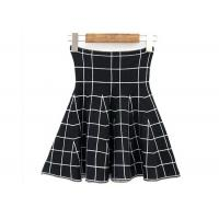Wholesale High Waist Grid Pattern Girls Skater Skirt / Fashionable Plaid Mini Skirt from china suppliers