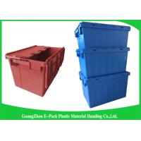 Wholesale Warehouse Nestable Plastic Tote Boxes / stackable bins with hinged lids from china suppliers
