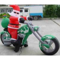 Wholesale Red / Green Inflatable Cartoon PVC Santa Claus HIS Motorbike With Repair Kits from china suppliers