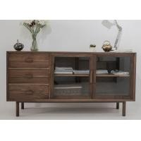 Wholesale Modern Wooden Television Stands 2 Glass Doors And 3 Drawers Dark Wood TV Cabinets from china suppliers