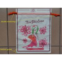 Wholesale Small Recyclable White Plastic Drawstring Bags with Flower Printed from china suppliers
