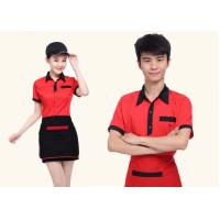 Red And Black Color Restaurant Staff Uniform Cotton New Polo Style For for sale
