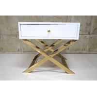 Wholesale White Painted Gold Hotel Bedside Tables With Polished Metal Base , 60% Sheen from china suppliers
