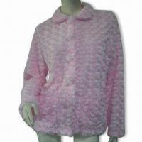 Wholesale Ladies Jacquard Floral Bed Jacket with Patch Pockets, Covered Buttons from china suppliers