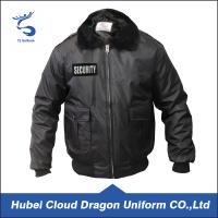 Wholesale Fur Collar Black Warm Security Guard Coats , Police Duty Jackets Windproof from china suppliers
