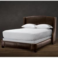 Wholesale Amply padded throughout Solid Oak Wood King Leather Bed with storage from china suppliers