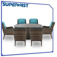 Wholesale Outdoor Living Luxury Garden Resin Wicker Patio Furniture Rattan Dining Set with Cushion from china suppliers