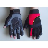 Wholesale Neoprene Cuff Stretch fabric back Fingerless Anti vibration Mechanic Work Gloves from china suppliers