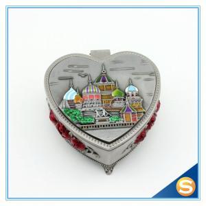 Castle Desgin Zinc Alloy Metal Jewelry Box with Mirror