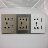Wholesale Factory Price 220V EURO Double USB Wall Socket from china suppliers