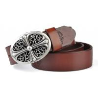 Buy cheap famouse star dress belts embossing pattern with cross alloy buckle from wholesalers