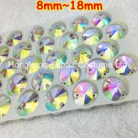 Wholesale Rivoli 8-18mm clear ab color Swaro Rhinestone Shiny Sew on Glass Stone Rivoli Rhinestone from china suppliers