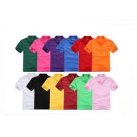 Colorful Short Sleeve Mens Cotton Polo Shirts Blank , Women Embroidered Polos for sale