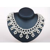 Wholesale 18 Inch Cream White Handcrafted Pearl Jewelry , Flower Fringe Silver And Pearl Jewellery from china suppliers