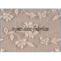 Wholesale Ivory Floral Lace Power Mesh Fabric for Dress , Nylon Spandex Net Fabric from china suppliers