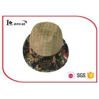 Quality Fashion natural Wide Brimmed Straw Hat , mens floral aop trim seagrass straw hat for sale