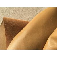 Wholesale Ocher Wrinkle Bonded Leather Fabric For Upholstery , Leather Furniture Fabric from china suppliers