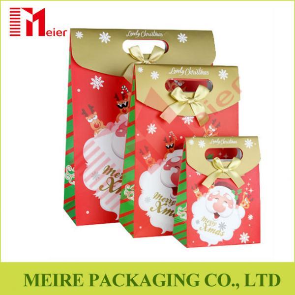 Santa claus christmas gift bag merry paper