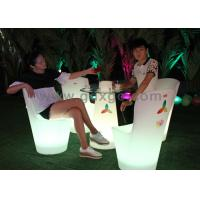 Wholesale Lighting Polyethylene D60*H70cm LED Bar Cocktail Tables with round glass top from china suppliers