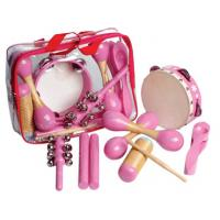 Wholesale 6 Pcs Pink Wooden Percussion Kids Musical Instrument , Customized Pattern from china suppliers