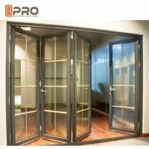 China Aluminum Frame Folding Glass Doors Thermal Break Aluminium System Design folding door bi fold shower door FOLD BATHROOM on sale