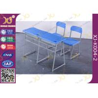 Wholesale Colorful Steel Frame Fixed Double School Desk And Chair With Cabinet from china suppliers