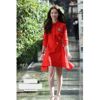 Buy cheap fashion turn down collar mid-length sleeves ladies dresses red color from wholesalers