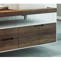 Quality Wall Mounted Style Double Sink Bathroom Vanity Cabinets With Wood Veneer Door Panel for sale