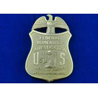 Wholesale Brass Stamped Federal Bureau Investigation Badge, Clip Souvenir Badges with Die Cast, Die Struck, Stamped from china suppliers
