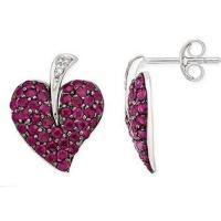 Quality Earring Ruby & Diamond White Gold Earrings for sale