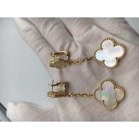 Quality Van Cleef & Arpels Magic Alhambra earrings 2 motifs yellow gold white mother-of-pearl for sale
