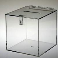 Wholesale Crystal Clear Cam Lock Acrylic Donation Box Ballot Box with Clasp and Hasp from china suppliers