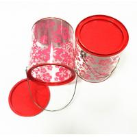 Quality D126x150mm Round Cyliner Tin Box With PVC PET Plastic Tube And Metal  Handle for sale