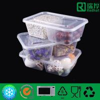 Two Compartment plastic food container / divided clear plastic box 850ml