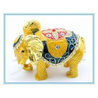 Wholesale Gold Enamel metal elephant shape trinket box from china suppliers