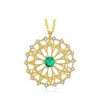 Wholesale Round Shape Emerald Pendant Necklace Yellow Gold Surrounded Diamonds from china suppliers