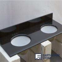 Quality Absolute Black Granite Bathroom Vanity Top with Double Sinks for sale