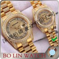 Wholesale Stainless Steel Case Quartz Gold Watch , Mens Diamond Gold Watch For Couple / Twin from china suppliers