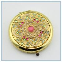 Wholesale wholesale round shape pink rhinestone metal pocket mirrors from china suppliers