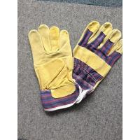 "Quality 10.5"" Leather Safety Working Gloves Full Palm Stripe Cotton Back And Pasted Cuff for sale"