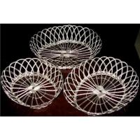 Wholesale OVAL METAL WIRE TRAYS IN SILVER PLATED,NON-HANDLE WIRE BASKETS,HANDWOVEN BASKETS, 3 SIZES from china suppliers