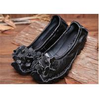 Wholesale Women's Flat retro flowers Comfortable Trendy Shoes ladies black loafers from china suppliers