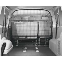 A full piece of wire mesh partition for transit connection with black powder coated surface.