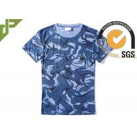 Wholesale Navy Blue Military Style T Shirts For Summer , Unisex Cool Army T Shirts Moisture Absorbing from china suppliers