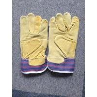 """Quality 10.5"""" Leather Safety Working Gloves Full Palm Stripe Cotton Back And Pasted Cuff for sale"""