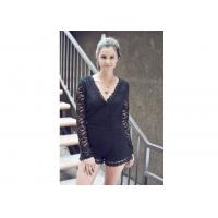 China Sweet Night Long Sleeve Lace Sexy Women Jumpsuits With Surplice Top on sale